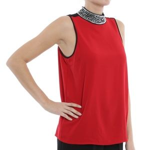 Michael Kors • Elegant Red Crystal Tank Top